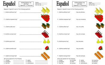 Spanish Numbers and Fruit Vocabulary - ¿Cuántos hay?