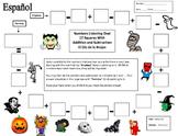 Spanish Numbers and Halloween Theme Math Listening Activity