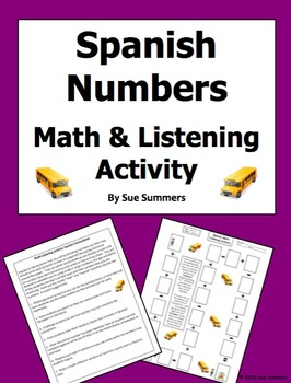 Spanish Numbers and Math Listening Activity