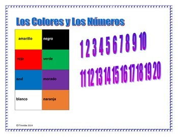 Spanish Numbers, colors, Reading and Writing Activities