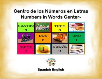 Spanish Math Numbers in Words / Numeros en Letras in a Station / Center Activity