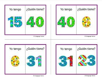 Spanish Numbers up to 50 Los Numeros Yo Tengo ... Quien tiene ...? Game - Free