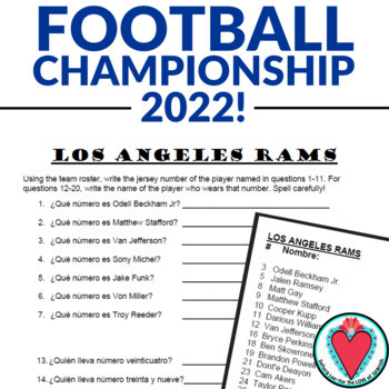 Spanish Numbers Activity: Football Championship Team Rosters