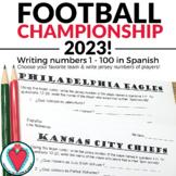 Spanish Numbers 1 - 100 Activity - Spanish Super Bowl Worksheet
