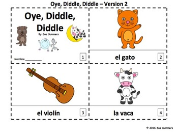 Spanish Nursery Rhyme Hey Diddle Diddle 2 Emergent Reader Booklets