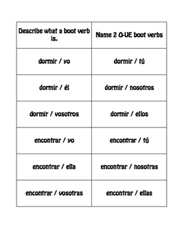 Spanish O-UE Boot Verb Buzz Game