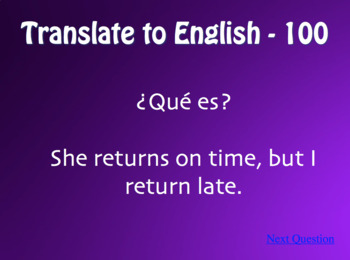 Spanish O-UE Boot Verb Jeopardy-Style Review Game