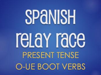 Spanish O-UE Boot Verb Relay Race