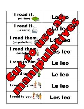Spanish Object Pronouns Manipulatives