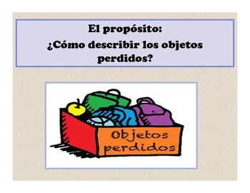 Spanish Objetos Perdidos Presentation and Activities
