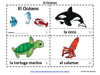 Spanish Ocean Marine Life 2 Emergent Reader Booklets - El Océano