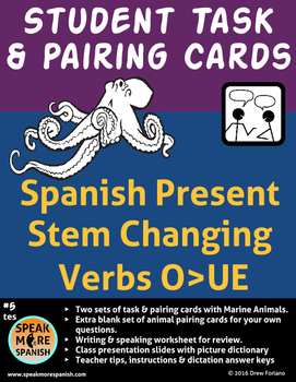 Spanish - Ocean Student Pairing Cards * Stem Changing Verbs O>UE *Verbos