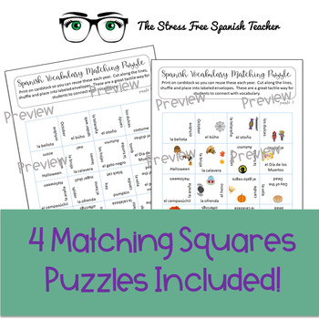 Spanish October Back to School Matching Vocabulary Puzzles!