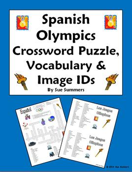 Spanish Olympics Crossword Puzzle Worksheet and Vocabulary