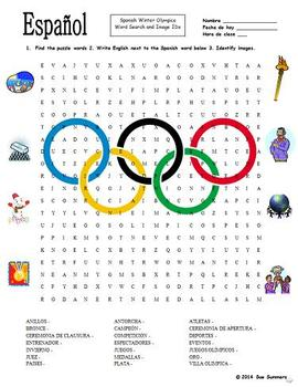 Spanish Olympics Word Search Puzzle Worksheet and Vocabulary