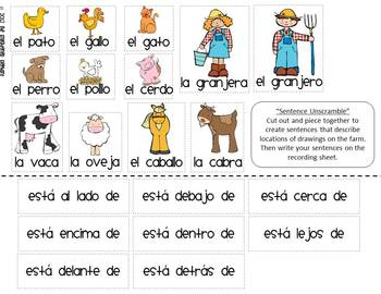 spanish prepositions of location thematic unit with farm vocabulary. Black Bedroom Furniture Sets. Home Design Ideas