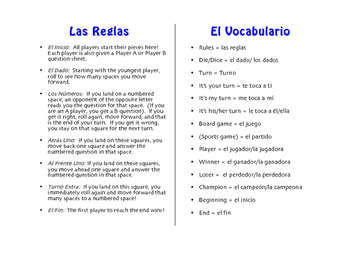 Spanish On Vacation Board Game