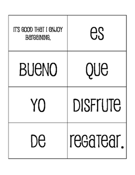 Spanish On Vacation Sentence Mixer