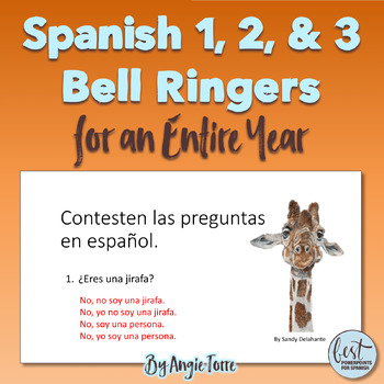 Spanish One, Two, and Three Bell Ringers for an Entire Year
