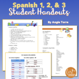 Spanish One Two and Three Student Handouts | Cheat-Sheets for an Entire Year