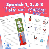 Spanish One Two Three Printable and Digital Tests | Quizzes | Worksheets