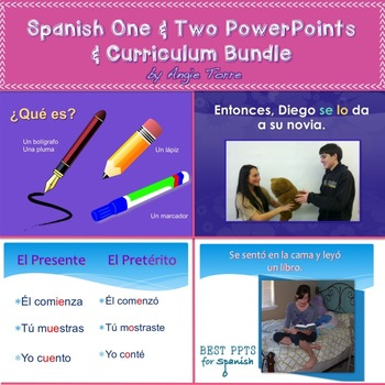 Spanish One and Two PowerPoints and Curriculum Mega Bundle Digital