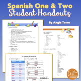Spanish One and Two Student Handouts or Cheat-Sheets for an Entire Year Bundle