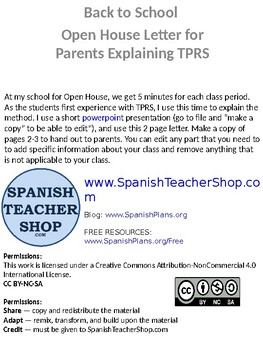 Spanish Open House Letter to Parents about TPRS