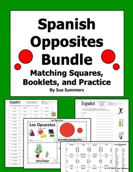 Spanish Opposites Bundle - Matching Squares, Booklets, and Practice
