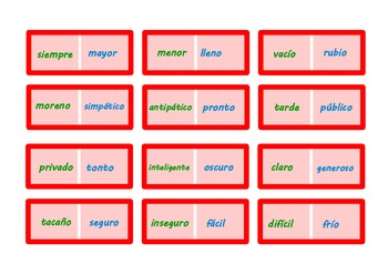 Spanish Opposites Small Dominoes .64 pairs