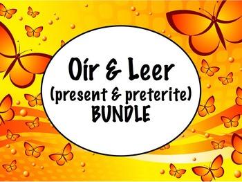 Spanish Oír & Leer (Present & Past) BUNDLE- Slideshow, Worksheets, Keynote