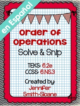 FREEBIE Spanish Order of Operations Solve and Snip