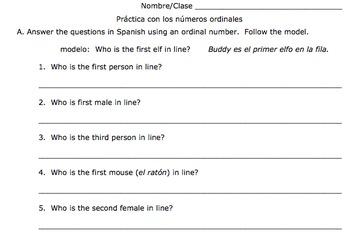 Spanish Ordinal Number Practice