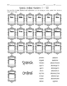 Spanish Ordinal Numbers 1-20 Worksheet by Sunny Side Up Resources