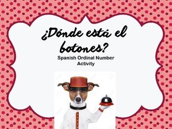 Spanish Ordinal Numbers ¿Dónde Está El Botones? Activity