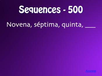 Spanish Ordinal Numbers Jeopardy-Style Review Game
