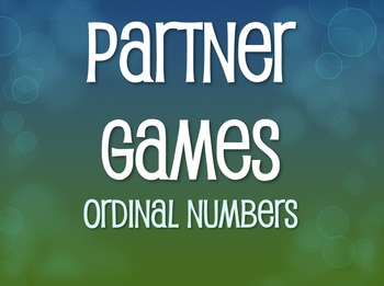 Spanish Ordinal Numbers Partner Games
