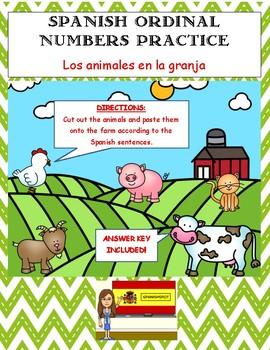 Spanish Ordinal Numbers Practice- Los animales en la granja