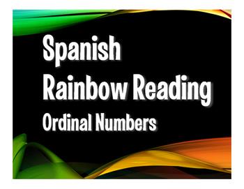 Spanish Ordinal Numbers Rainbow Reading