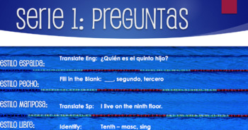 Spanish Ordinal Numbers Relay Race