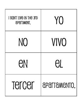 Spanish Ordinal Numbers Sentence Mixer
