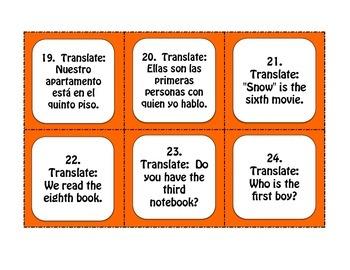 Spanish Ordinal Numbers Task Cards