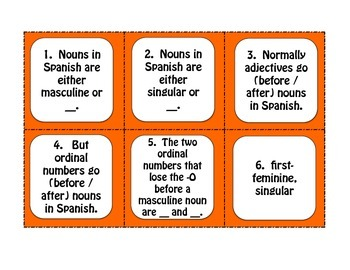 Spanish Ordinal Numbers Task Cards