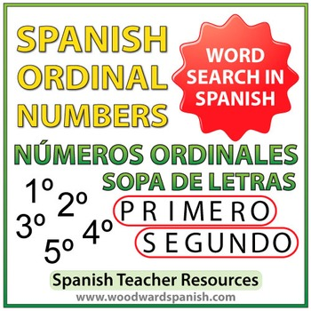 Spanish Ordinal Numbers Word Search