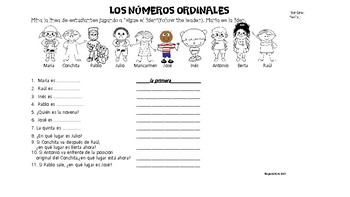 spanish ordinal numbers los numeros ordinales worksheet no prep. Black Bedroom Furniture Sets. Home Design Ideas