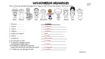 Spanish Ordinal Numbers / los numeros ordinales / worksheet / no-prep