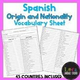Spanish Origin and Nationality Vocabulary Sheet