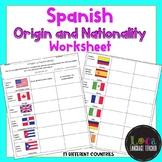 Spanish Origin and Nationality Worksheet