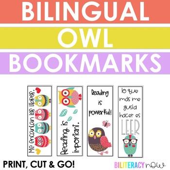 English & Spanish Owl Bookmarks! Seven Unique Designs!