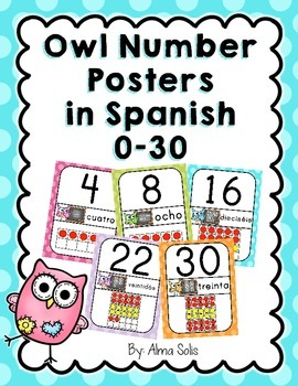 Spanish Owl Number Posters 0-30
